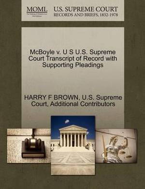 McBoyle V. U S U.S. Supreme Court Transcript of Record with Supporting Pleadings