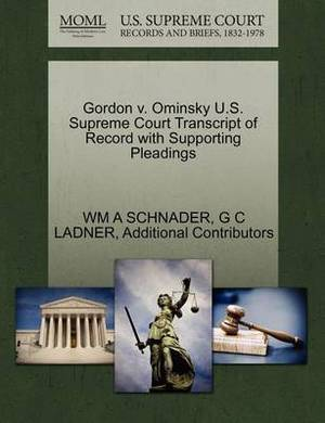 Gordon V. Ominsky U.S. Supreme Court Transcript of Record with Supporting Pleadings
