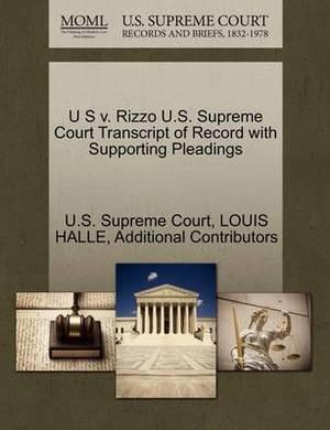 U S V. Rizzo U.S. Supreme Court Transcript of Record with Supporting Pleadings