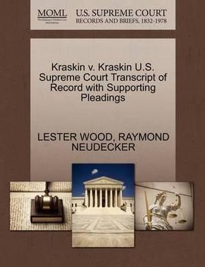 Kraskin V. Kraskin U.S. Supreme Court Transcript of Record with Supporting Pleadings