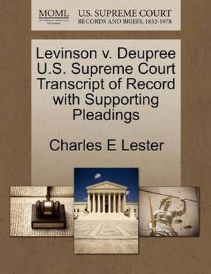 Levinson V. Deupree U.S. Supreme Court Transcript of Record with Supporting Pleadings