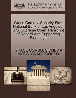 Grace Corso V. Security-First National Bank of Los Angeles. U.S. Supreme Court Transcript of Record with Supporting Pleadings