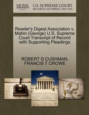 Reader's Digest Association V. Mahin (George) U.S. Supreme Court Transcript of Record with Supporting Pleadings