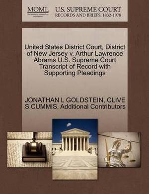 United States District Court, District of New Jersey V. Arthur Lawrence Abrams U.S. Supreme Court Transcript of Record with Supporting Pleadings