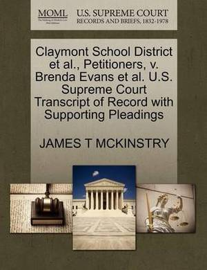 Claymont School District et al., Petitioners, V. Brenda Evans et al. U.S. Supreme Court Transcript of Record with Supporting Pleadings