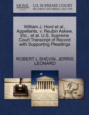 William J. Hord et al., Appellants, V. Reubin Askew, Etc., et al. U.S. Supreme Court Transcript of Record with Supporting Pleadings