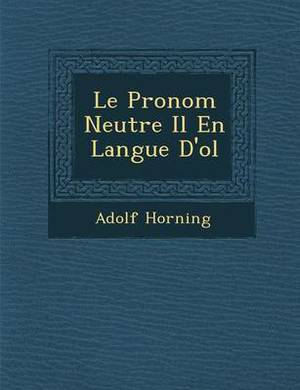 Le Pronom Neutre Il En Langue D'o L