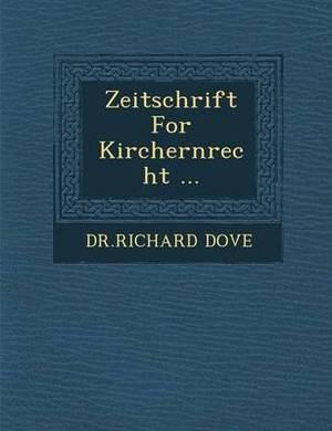 Zeitschrift for Kirchernrecht ...