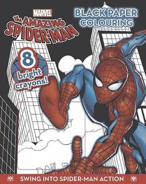 Marvel Spiderman Black Paper Colouring Book