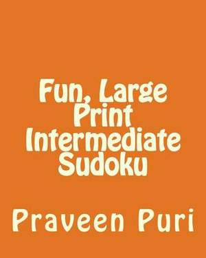 Fun, Large Print Intermediate Sudoku: Easy to Read, Large Grid Puzzles