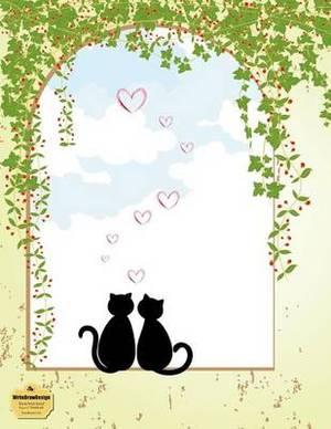 Writedrawdesign Notebook, Blank/Wide Ruled, 8.5 X 11 Inches, Sweetheart Cats
