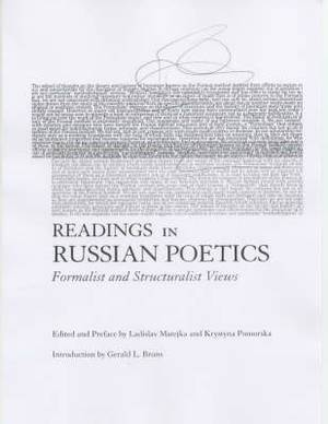 Readings in Russian Poetics: Formalist and Structuralist Views