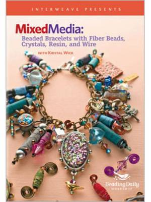 Mixed Media Beaded Bracelets with Fiber Beads Crystals Resin and Wire