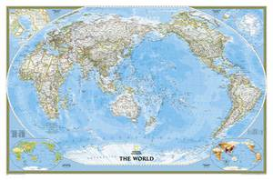 World Classic, Pacific Centered, Laminated: Wall Maps World
