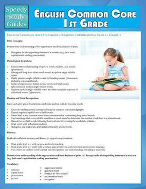 English Common Core 1st Grade (Speedy Study Guide)