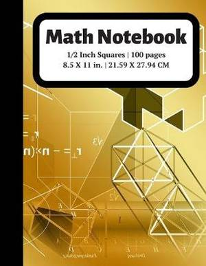 Math Notebook: 1/2 inch Square Graph Paper for Students and Kids, 100 Sheets (Large, 8.5 x 11)