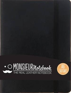 Monsieur Notebook Leather Journal - Black Dot Grid Small