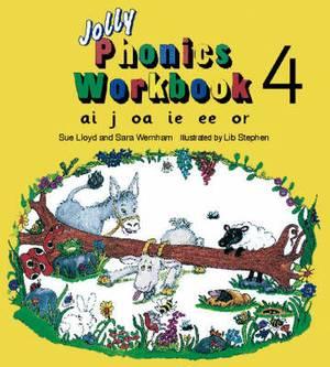 Jolly Phonics Workbook 4: in Precursive Letters (British English edition)