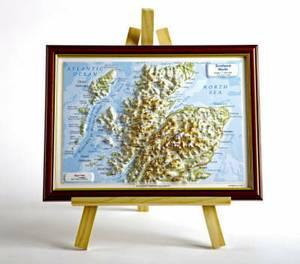 Scotland North Raised Relief Map: Dark Wood Frame