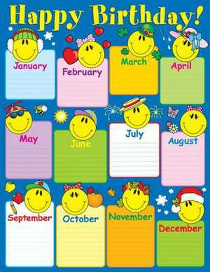 Smiley Face Birthday Chart