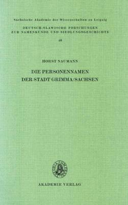 Die Personennamen Der Stadt Grimma/Sachsen