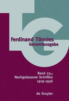 Nachgelassene Schriften: 1919-1936