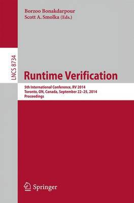 Runtime Verification: 5th International Conference, RV 2014, Toronto, ON, Canada, September 22-25, 2014. Proceedings