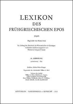 Lexikon Des Fruhgriechischen Epos Lfg. 25: Chalkoparhios - Wps