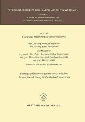 Beitrag Zur Entwicklung Einer Automatischen Auswuchteinrichtung F r Gro schleifmaschinen