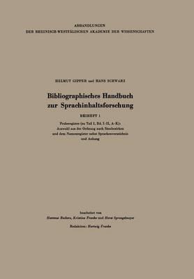 Bibliographisches Handbuch Zur Sprachinhaltsforschung: Beiheft 1