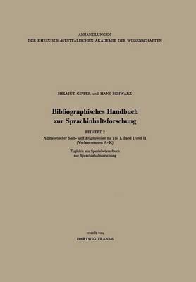 Bibliographisches Handbuch Zur Sprachinhaltsforschung