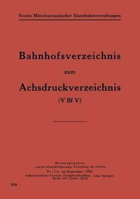 Bahnhofsverzeichnis Zum Achsdruckverzeichnis