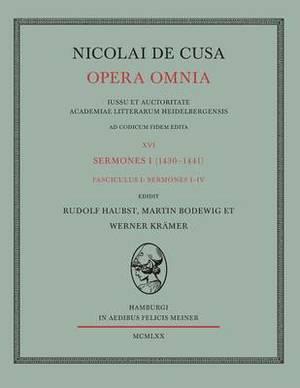 Nicolai de Cusa Opera Omnia. Volumen XVI 1.
