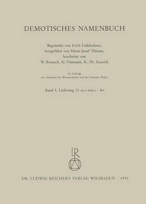 Demotisches Namenbuch: Lieferung 13
