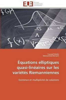 Equations Elliptiques Quasi-Lineaires Sur Les Varietes Riemanniennes