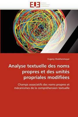 Analyse Textuelle Des Noms Propres Et Des Unites Propriales Modifiees