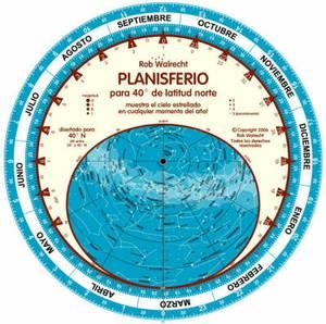 Planisferio Para 40 Grados De Latitud Norte (Spanish): Muestra El Cielo Estrellado Cualquier Momento Del Ano