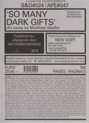 S&D 24/ Ape#47 - So Many Dark Gifts, an Essay by Matthew Stadler