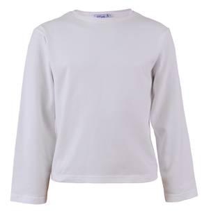 Round Neck Long Sleeve Cotton Blouse