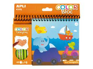 APLI Color Bloc & Crayons - Transports