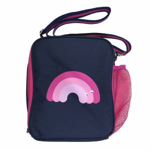 Tinc Lunch Bag with Carry Handle - Navy/ Pink