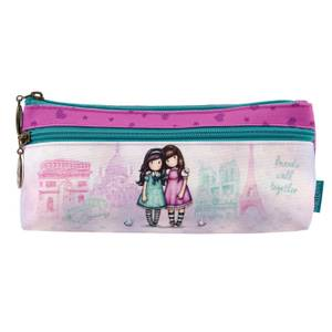 Santoro Gorjuss Cityscape Zipped Pocket Pencil Case - Friends Walk Together