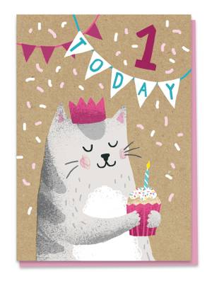 Stormy Knight 1st Birthday Card - Cat (KIDG1)