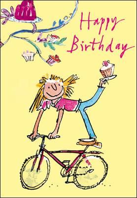 Woodmansterne Quentin Blake Happy Birthday Bike Card (411793)