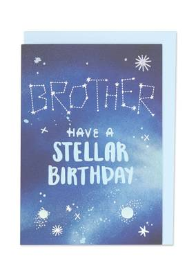 Raspberry Blossom Brother Have A Stellar Birthday Card (DRM12)