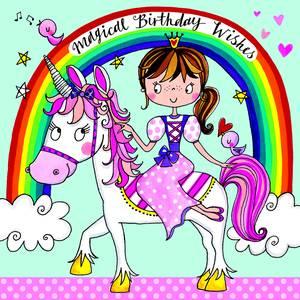 Rachel Ellen Jigsaw Card - Princess & Unicorn (JIG48)