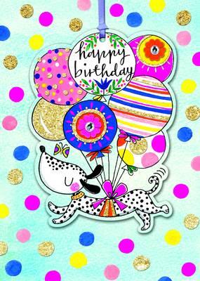 Rachel Ellen Happy Birthday Card - Spotty Dog & Balloons (MARG11)