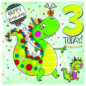 Rachel Ellen Age 3 Card - Dinosaur (SCRIB6)