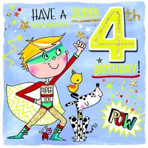 Rachel Ellen Age 4 Card - Super Hero (SCRIB8)