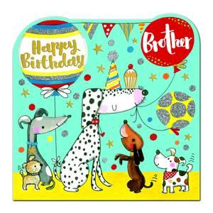Rachel Ellen Happy Birthday Brother Card - Dogs (SPIR12)